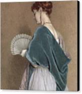 Woman With A Fan Canvas Print by John Dawson Watson