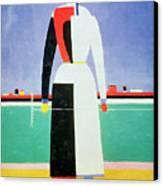 Woman With A Rake Canvas Print by Kazimir Severinovich Malevich