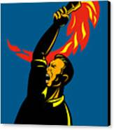 Worker With Torch Canvas Print by Aloysius Patrimonio