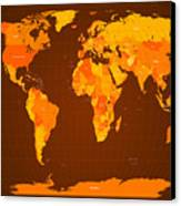 World Map Fall Colours Canvas Print by Michael Tompsett