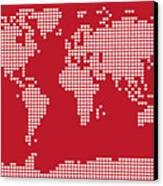 World Map Love Hearts Canvas Print by Michael Tompsett