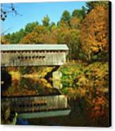 Worrall's Bridge Vermont - New England Fall Landscape Covered Bridge Canvas Print by Jon Holiday