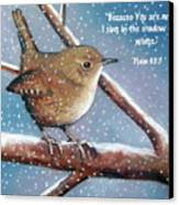 Wren In Snow With Bible Verse Canvas Print by Joyce Geleynse