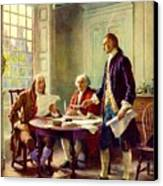 Writing Declaration Of Independence Canvas Print by Pg Reproductions