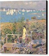 Yachts In Gloucester Harbor Canvas Print by Childe Hassam