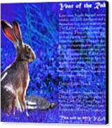 Year Of The Rabbit 2011 . Blue Canvas Print by Wingsdomain Art and Photography