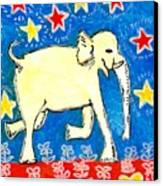 Yellow Elephant Facing Right Canvas Print by Sushila Burgess