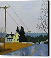 Yellow House In March Canvas Print by Laurie Breton