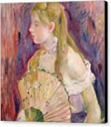 Young Girl With A Fan Canvas Print by Berthe Morisot