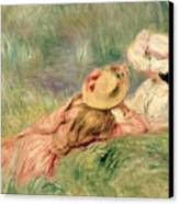 Young Girls On The River Bank Canvas Print by Pierre Auguste Renoir