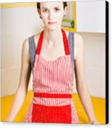 Young House Wife On Yellow Kitchen Background Canvas Print by Jorgo Photography - Wall Art Gallery
