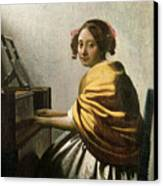 Young Woman At A Virginal Canvas Print by Jan Vermeer