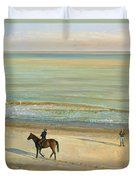 Beach Dialogue Dunwich Duvet Cover by Timothy  Easton