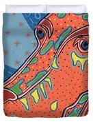 Folk Art Dog Doxiepoo Duvet Cover by Sarah  Niebank