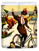 Funny Scenes of Bicycles and Roller Skates Duvet Cover by Nomad Art And  Design