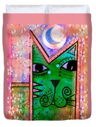 House Of Cats Series - Moon Cat Duvet Cover by Moon Stumpp