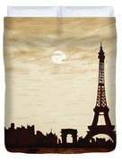 Paris Under Moonlight Silhouette France Duvet Cover by Georgeta  Blanaru