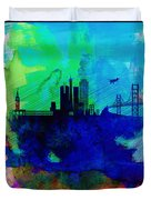 San Francisco Watercolor Skyline 2 Duvet Cover by Naxart Studio