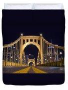 0304 Roberto Clemente Bridge Pittsburgh Duvet Cover by Steve Sturgill
