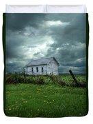 Abandoned Building In A Storm Duvet Cover by Jill Battaglia