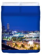 Barcelona And Its Skyline At Night Duvet Cover by Michal Bednarek