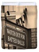 Baseball Warning Duvet Cover by Frank Romeo