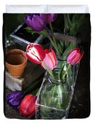 Beautiful Spring Tulips Duvet Cover by Edward Fielding