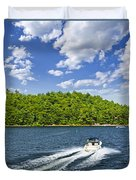 Boating On Lake Duvet Cover by Elena Elisseeva