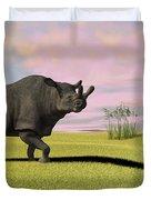 Brontotherium Grazing In Prehistoric Duvet Cover by Kostyantyn Ivanyshen