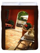 Courtyard Of A Villa Duvet Cover by Elena Elisseeva