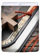 Cross on Bible Duvet Cover by Elena Elisseeva