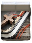 Cross On Bible Duvet Cover by Elena Elisseeva