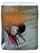 CROWNED CRANE Duvet Cover by Skip Willits
