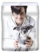 Cute little dog at the vet Duvet Cover by Edward Fielding