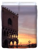 Doges Palace At Sunrise Venice Italy Duvet Cover by Matteo Colombo
