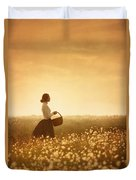 Edwardian Woman In A Meadow At Sunset Duvet Cover by Lee Avison