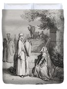 Eliezer And Rebekah Duvet Cover by Gustave Dore