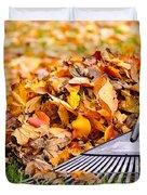 Fall Leaves With Rake Duvet Cover by Elena Elisseeva
