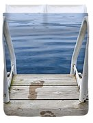 Footprints on dock at summer lake Duvet Cover by Elena Elisseeva