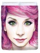 Girl with Magenta Hair Duvet Cover by Olga Shvartsur