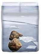 Icy Shore In Winter Duvet Cover by Elena Elisseeva