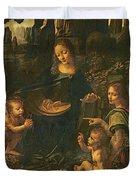 Madonna of the Rocks Duvet Cover by Leonardo da Vinci