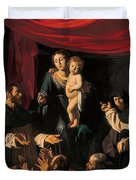 Madonna of the Rosary Duvet Cover by Caravaggio