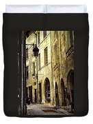 Medieval Street In France Duvet Cover by Elena Elisseeva