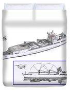 Merchant Marine Conceptual Drawing Duvet Cover by Jack Pumphrey
