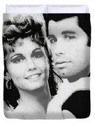 Olivia Newton John And John Travolta In Grease Collage Duvet Cover by Tony Rubino