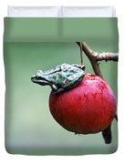 Pacific Tree Frog On A Crab Apple Duvet Cover by David Nunuk