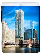 Picture Of Chicago River Skyline At Franklin Bridge Duvet Cover by Paul Velgos