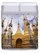Ruined Pagodas At Shwe Inn Thein Paya Duvet Cover by Chris Caldicott