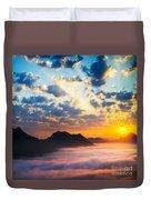 Sea Of Clouds On Sunrise With Ray Lighting Duvet Cover by Setsiri Silapasuwanchai